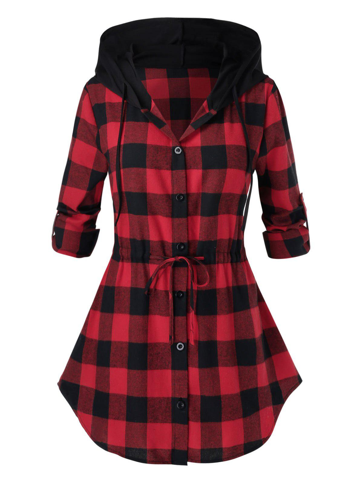 Discount Plus Size Hooded Roll Up Sleeve Drawstring Plaid Blouse