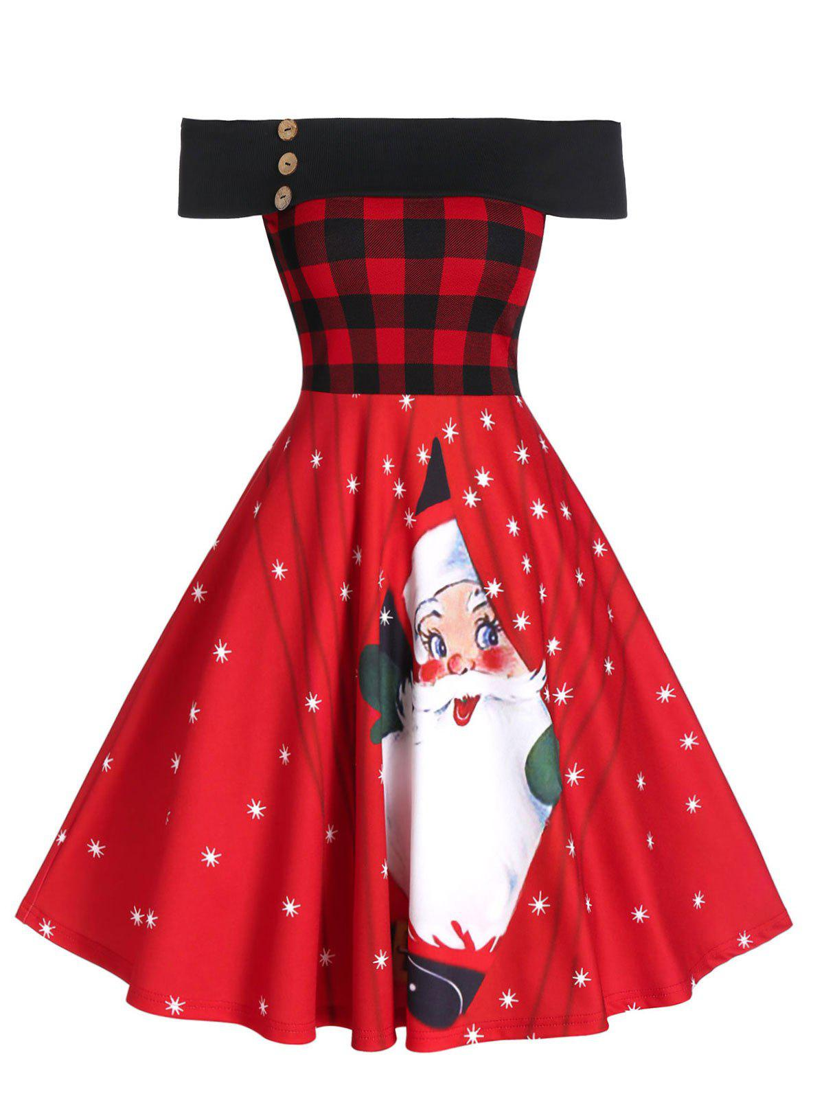Sale Off The Shoulder Plaid Santa Claus Print Christmas Dress