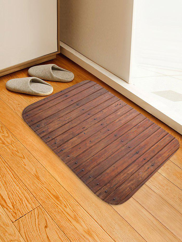 New Retro Wooden Board Pattern Flannel Water Absorption Area Rug
