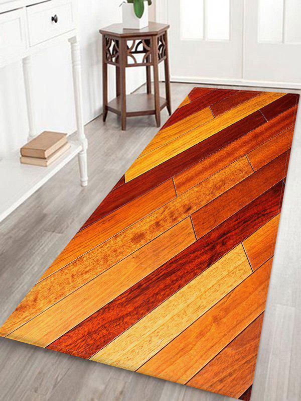 Hot Ombre Wooden Board Pattern Water Absorption Area Rug