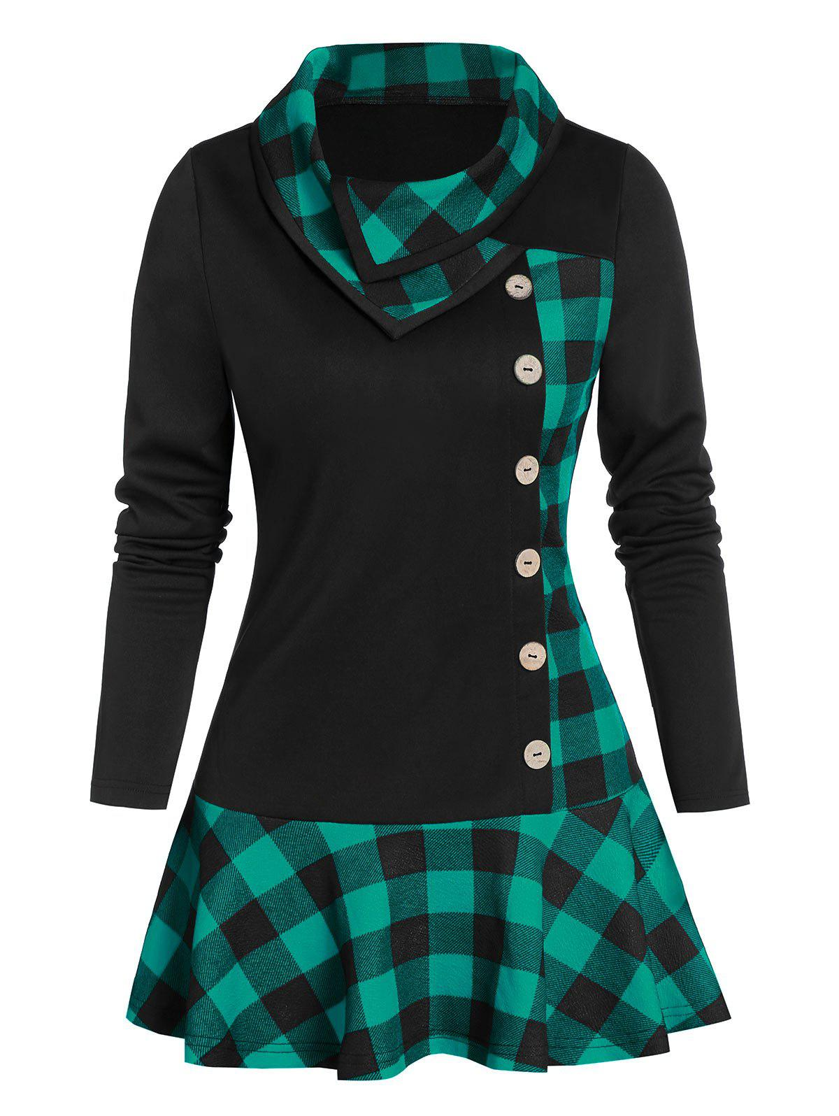 Hot Plaid Print Ruffle Hem Mock Button Tunic T-shirt