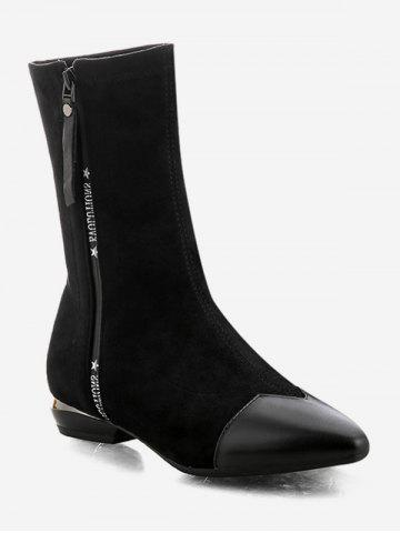 Letter Pattern Pointed Toe Mid Calf Boots