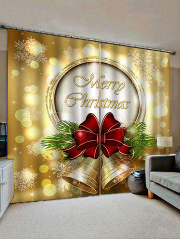 2 Panels Christmas Bowknot Bell Print Window Curtains