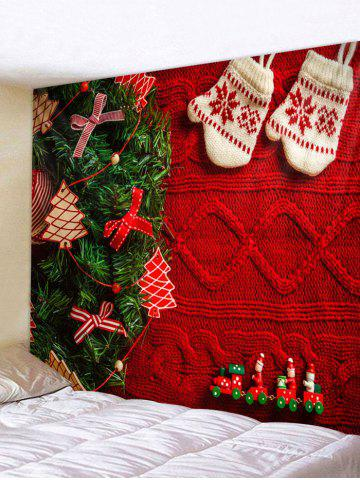 Christmas Tree Gloves Print Tapestry Wall Hanging Art Decoration - MULTI - W79 X L59 INCH
