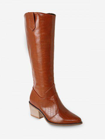 Animal Embossed Pointed Toe Knee High Boots