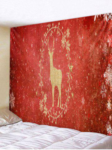 Christmas Deer and Snowflake Print Tapestry Wall Hanging Art Decoration - MULTI - W91 X L71 INCH