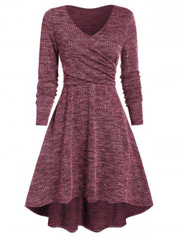 Heathered V Neck Crossover High Low Dress