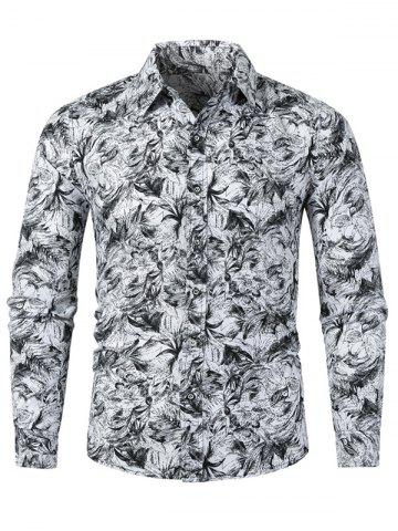 Plant Leaf Drawing Allover Print Long Sleeve Button Shirt