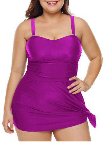 Plus Size Ruched Solid Padded Tankini Set - PLUM - L