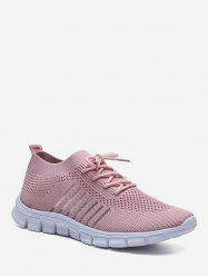 Sheer Striped Woven Mesh Running Shoes -