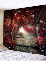 Red Forest Scenery Pathway Print Tapestry Wall Art -