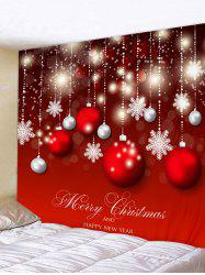 Wall Art Christmas Ball Snowflakes Print Hanging Tapestry -