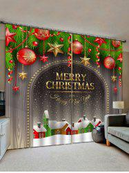 Christmas Ball Pattern Print Window Curtains -