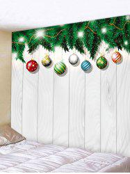 Christmas Ball Wood Grain Print Wall Art Tapestry -