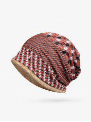 Plaid Patchwork Pattern Soft Knitted Scarf Hat -