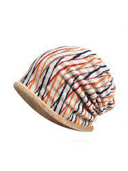Striped Pattern Soft Knitted Scarf Hat -