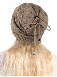 Knitted Outdoor Drawstring Double Use Scarf Hat -