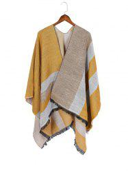 Color Blocking Spliced Shawl -