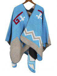 Colorblock Chevron Print Cape Scarf -