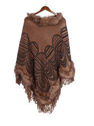 Geometric Pattern Tassel Faux Fur Cape Shawl -