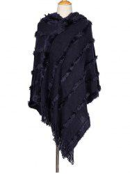 Faux Fur Tassel Hooded Shawl -