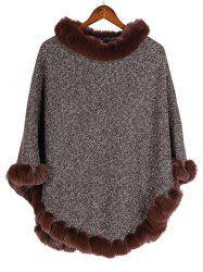 Faux Fur Heathered Pullover Cape Shawl -