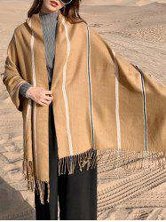 Winter Striped Big Fringe Double-sided Scarf -