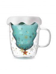 Snowflake Pattern Christmas Tree Shape Double-layer Glass Water Cup -