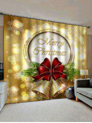 2 Panels Christmas Bowknot Bell Print Window Curtains -