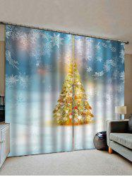 2 Panels Christmas Tree and Snowflakes Print Window Curtains -