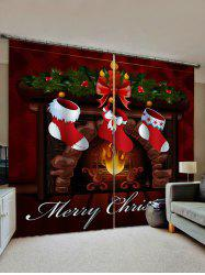 Christmas Stockings Fireplace Print 2 Panels Window Curtains -