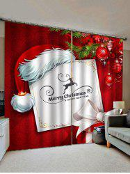 2 Panels Christmas Card and Gift Print Window Curtains -