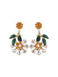 Flower Leaf Faux Crystal Drop Earrings -