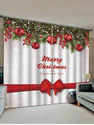 2 Panels Christmas Tree Balls Bowknot Print Window Curtains -