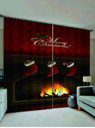 2 Panels Christmas Stockings Fireplace Print Window Curtains -