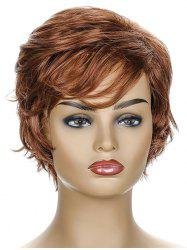 Inclined Fringe Short Natural Straight Synthetic Wig -
