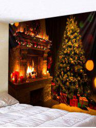Christmas Tree Fireplace Printed Tapestry Wall Hanging Art Decoration -