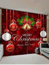 2 Panels Christmas Ball Bell Print Window Curtains -