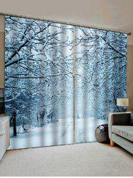 2 Panels Snowy Forest Road Print Window Curtains -