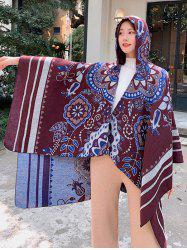 Floral Stripes Print Hooded Cape Shawl -
