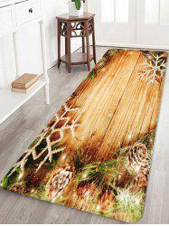 Christmas Snowflake Wood Grain Pattern Water Absorption Area Rug -