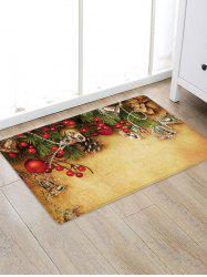 Christmas Bells Branch Pattern Water Absorption Area Rug -