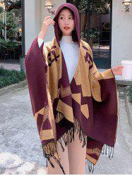 Colorblock Spliced Chevron Print Fringed Hooded Cape Shawl -