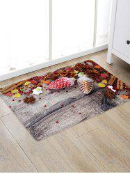 Christmas Decoration Wood Grain Pattern Water Absorption Area Rug -