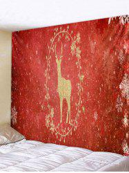 Christmas Deer and Snowflake Print Tapestry Wall Hanging Art Decoration -