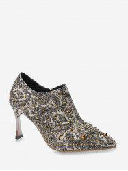 Shiny Paisley Pattern Stiletto Heel Pumps -