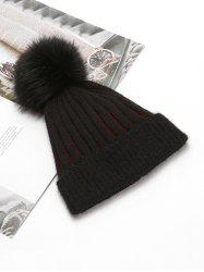 Striped Winter Solid Knitted Fuzzy Ball Hat -