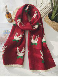 Christmas Pattern Graphic Contrast Trim Scarf -