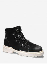 Stud Design Lace Up Cargo Boots -