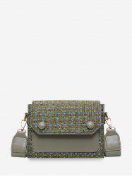 Linen Plaid Design Crossbody Bag -